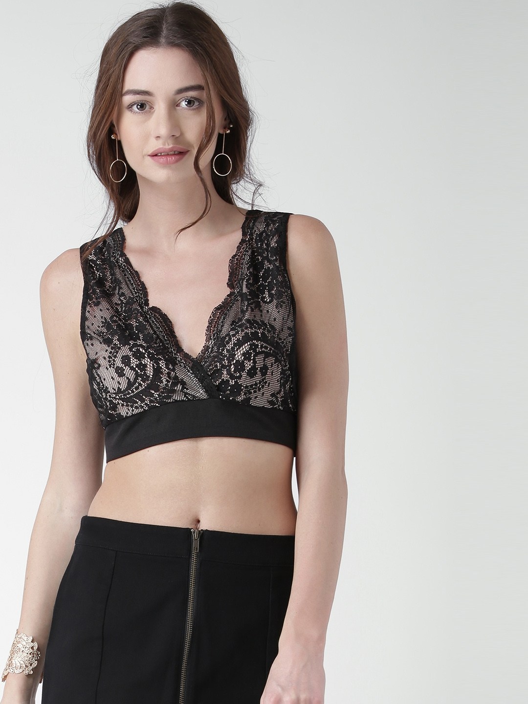 ab1425af07 Buy FOREVER 21 Women Black   Nude Coloured Lace Bralette Top - Tops for  Women 1621665