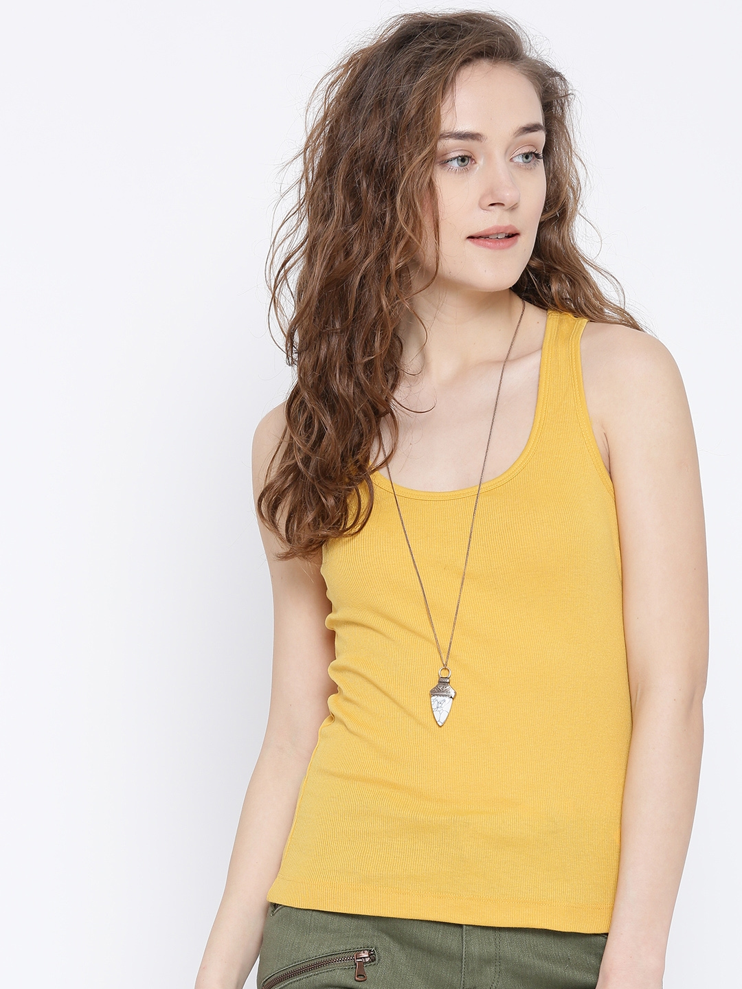 748e87a1ae693 Buy FOREVER 21 Women Mustard Yellow Tank Top - Tops for Women ...