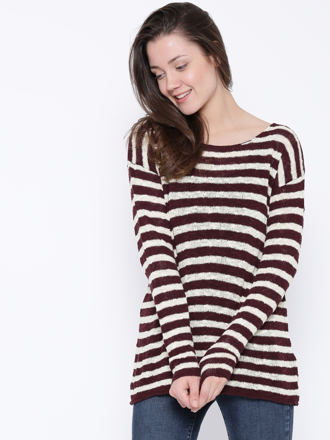 burgundy sweater with white stripes her sweater