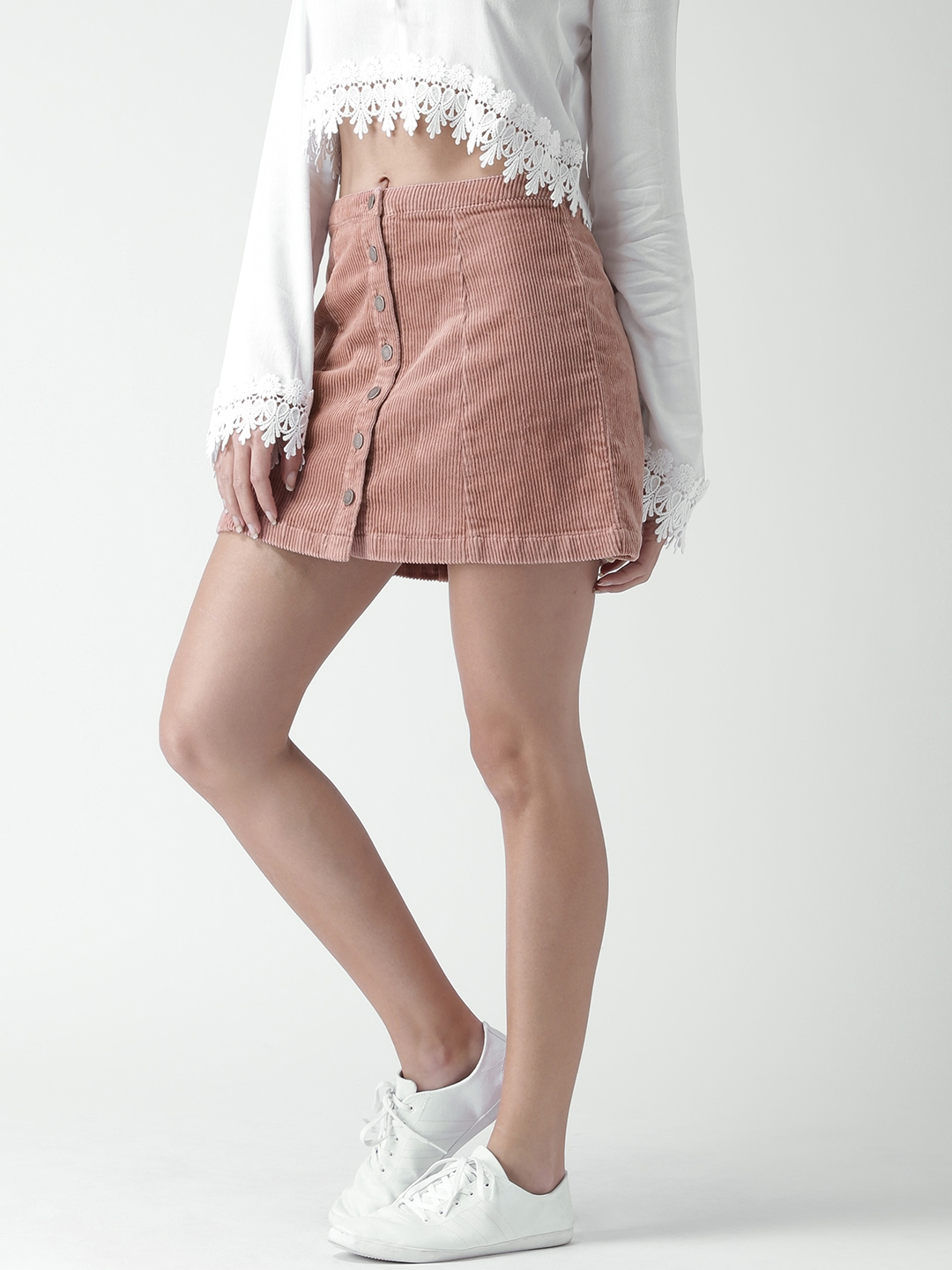73e4501f7 Buy FOREVER 21 Dusty Pink Corduroy A Line Mini Skirt - Skirts for ...