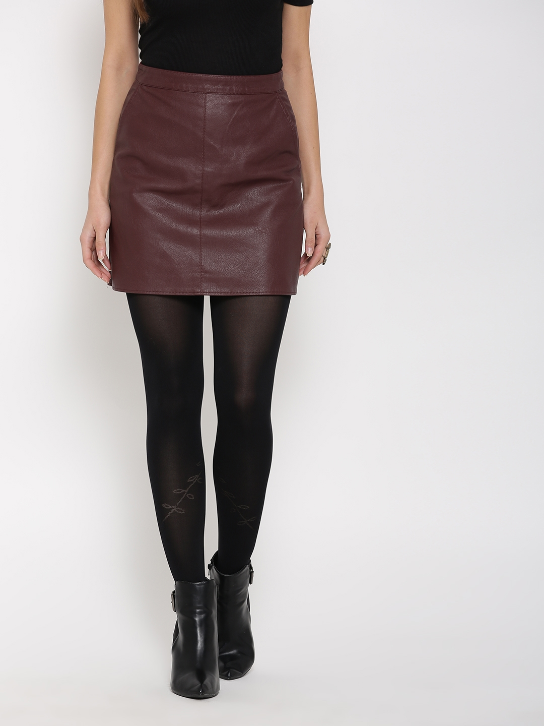 Buy FOREVER 21 Burgundy Faux Leather A Line Mini Skirt - Skirts ...