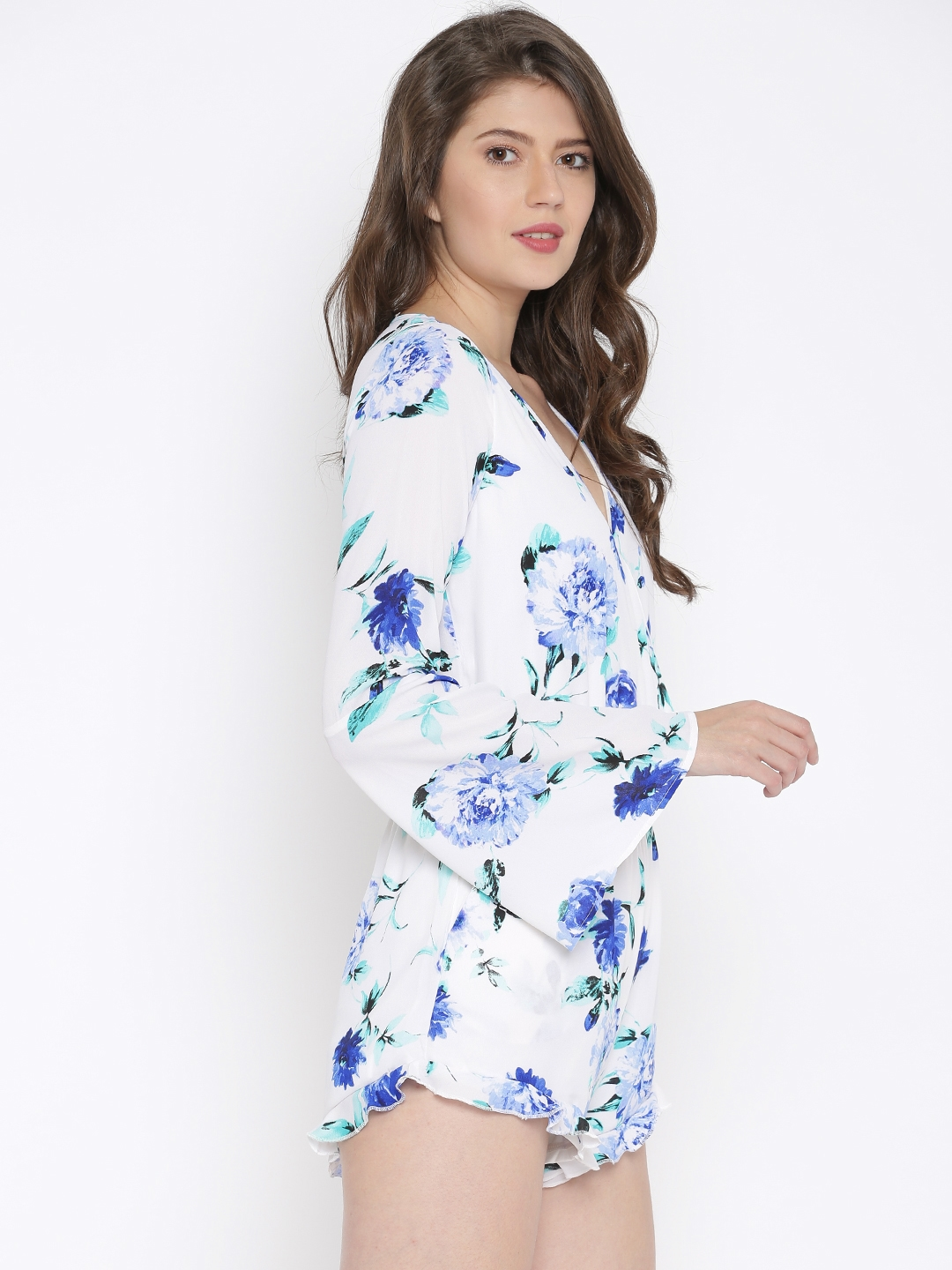 a94c637db5b9 Buy FOREVER 21 White   Blue Floral Print Rompers - Jumpsuit for ...