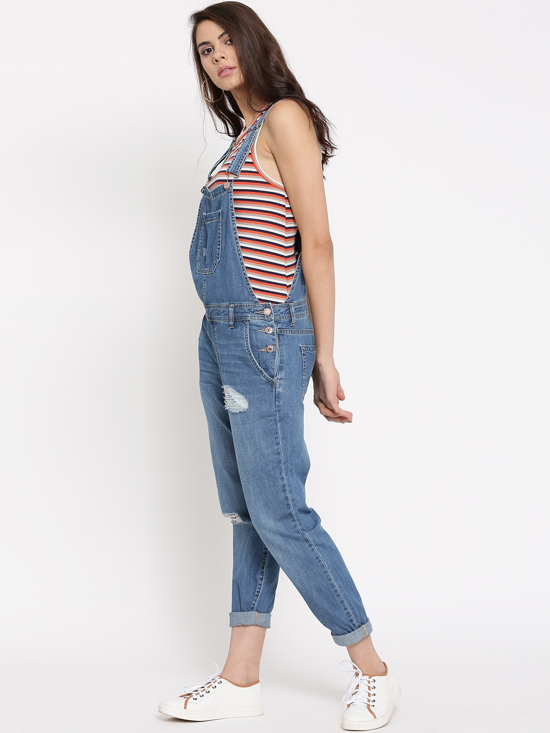 b3fb41c321a Buy FOREVER 21 Blue Distressed Denim Dungarees - Dungarees for Women ...