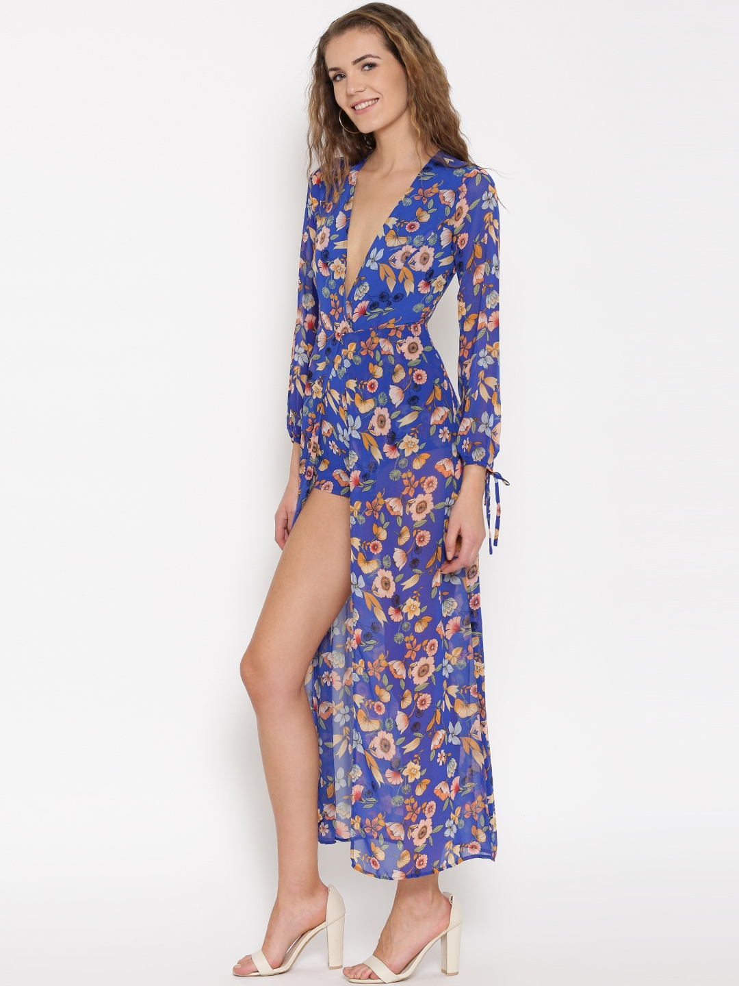 Buy Forever 21 Blue Floral Print Layered Playsuit Jumpsuit For