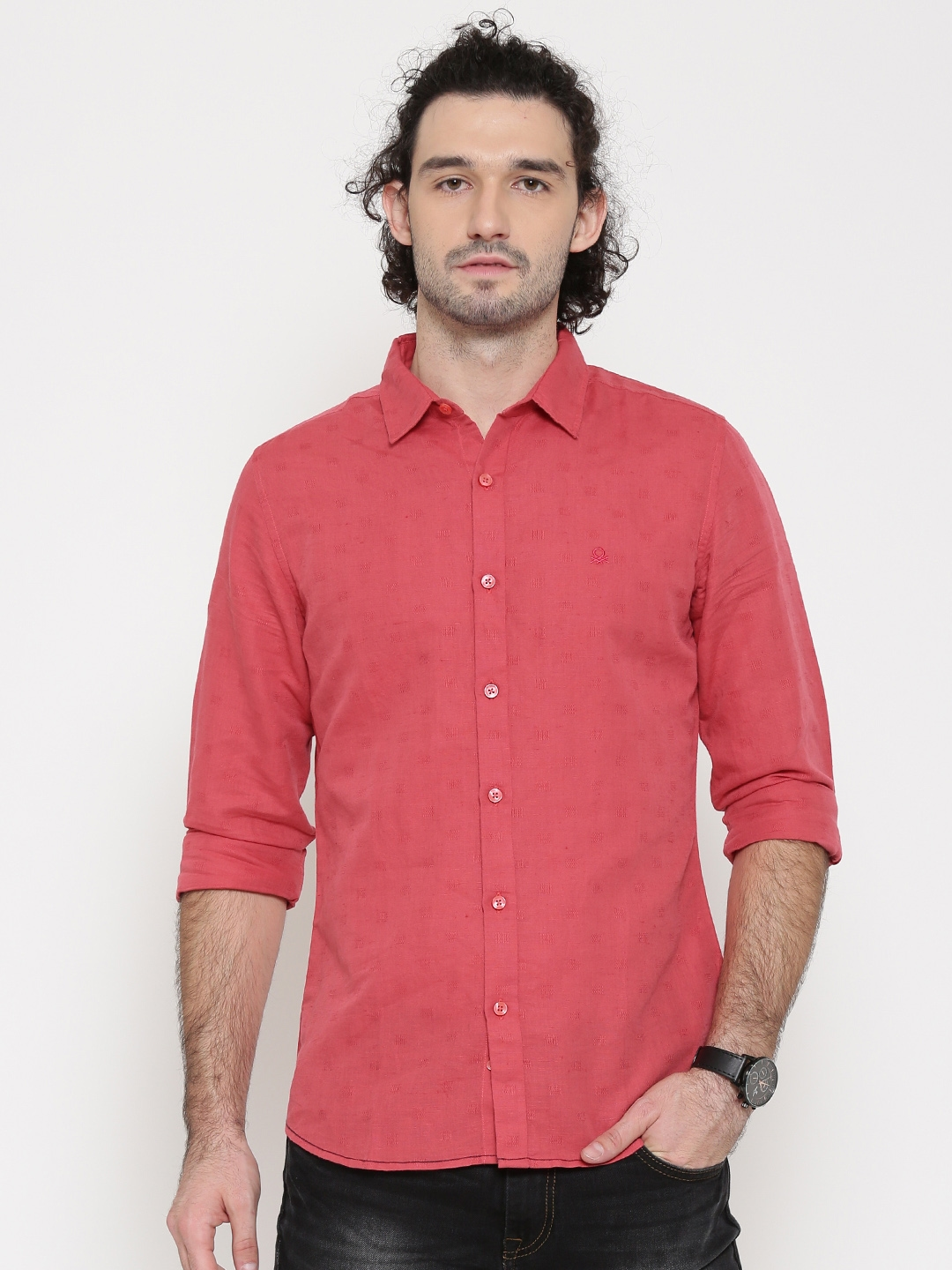 Buy United Colors Of Benetton Men Coral Pink Patterned Casual Shirt