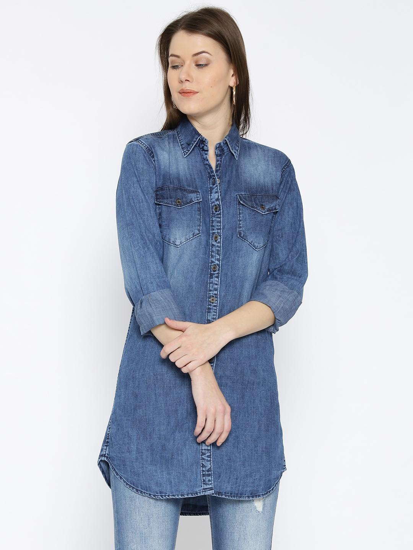 Buy AND Blue Denim Long Shirt - Shirts for Women 1622971  3639e45c266