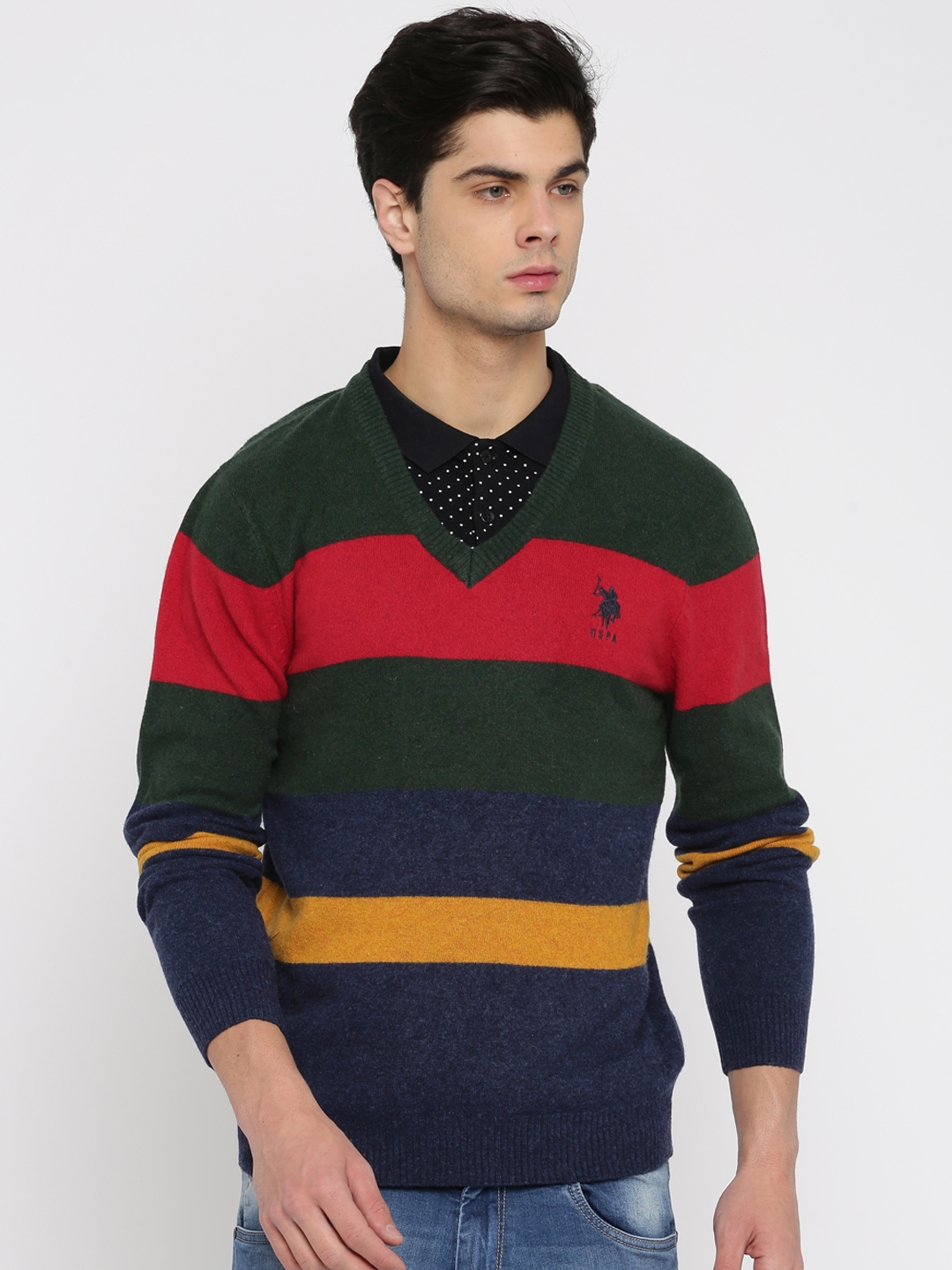 2afede061 Buy U.S. Polo Assn. Men Multicoloured Striped Pullover Sweater ...