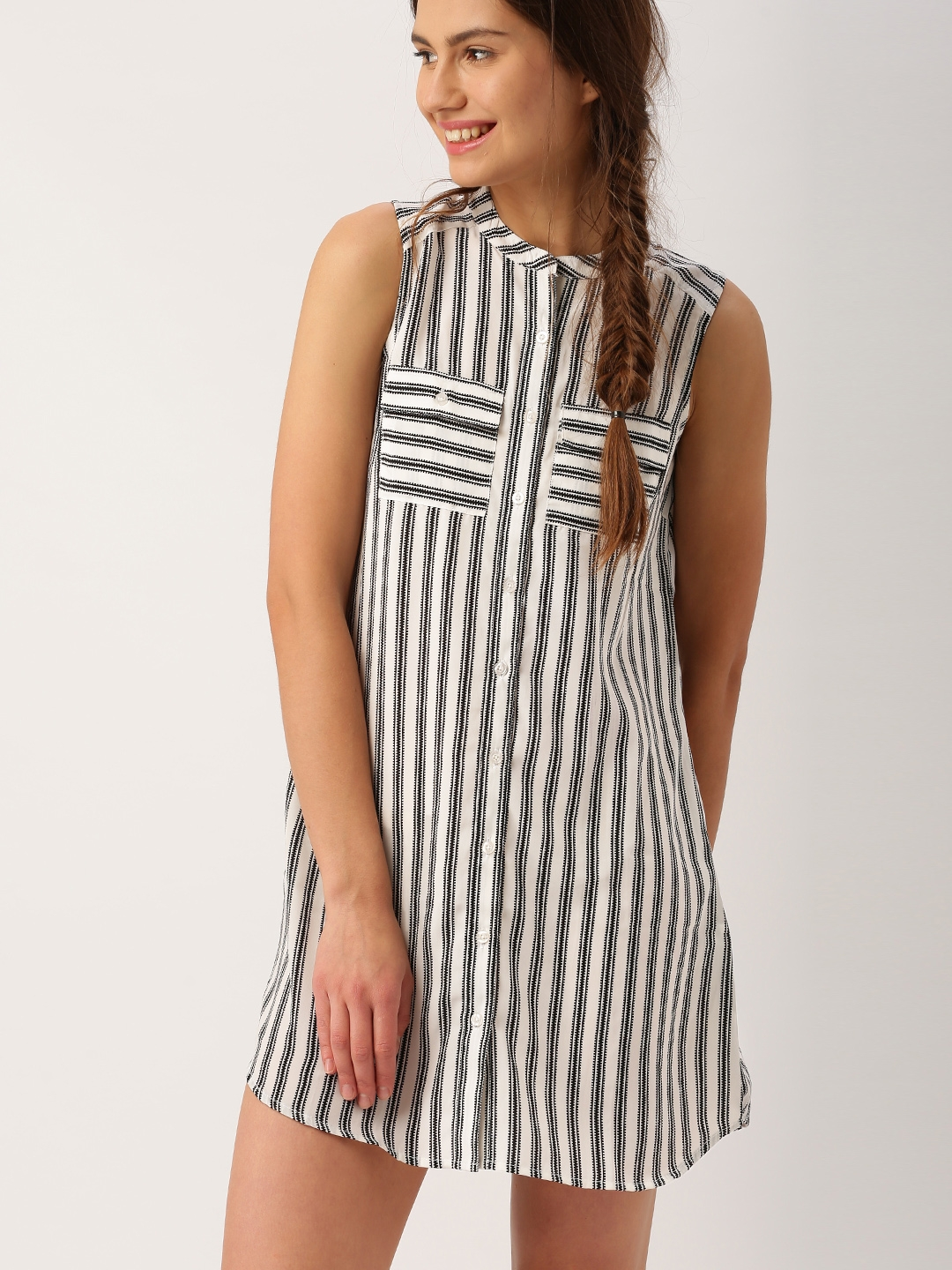 Buy dressberry women black white striped shirt dress for Buy white dress shirt
