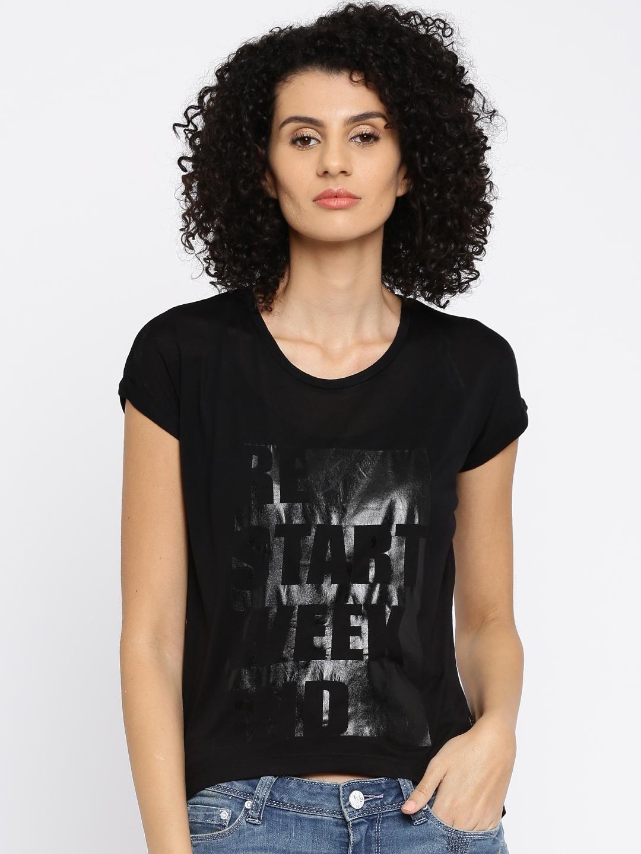 Lee Women Black Printed T shirt