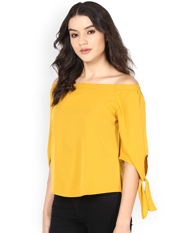 f37a64db7115b5 Buy Harpa Women Mustard Yellow Off Shoulder Top - Tops for Women ...