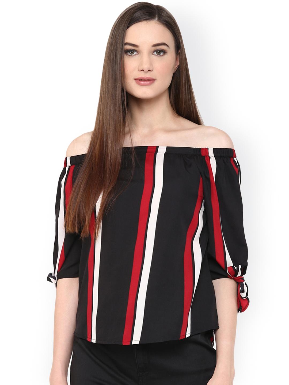 8d5b8b5a734bd Buy Harpa Women Black   Red Striped Off Shoulder Top - Tops for ...