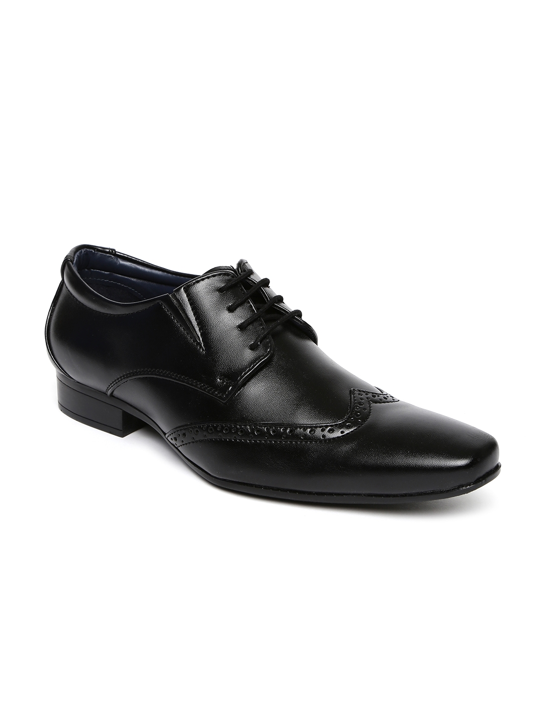 buy bata men black square toed leather brogue shoes formal shoes