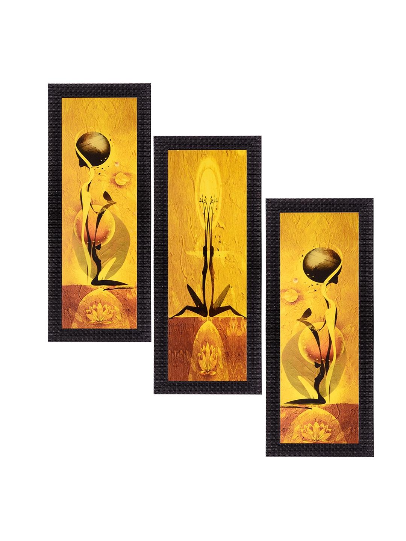Buy ECraftIndia Yellow Set Of 3 Abstract UV Wall Art - Wall Art for ...