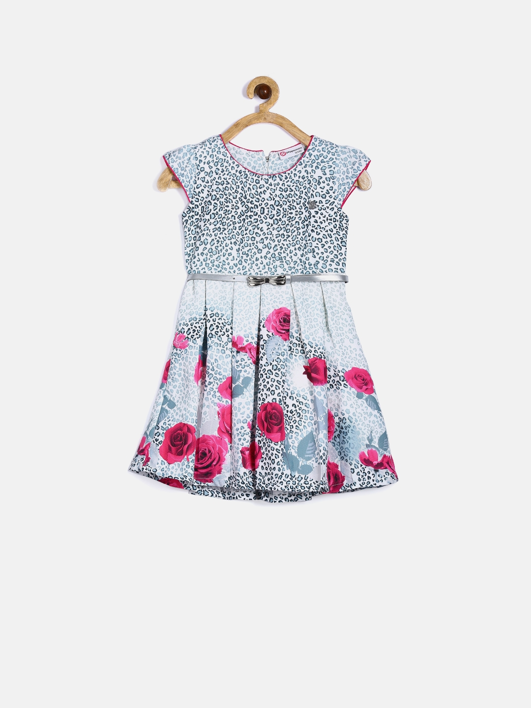 781cbe382c5 Buy Peppermint Girls White   Pink Floral   Animal Print Fit   Flare ...
