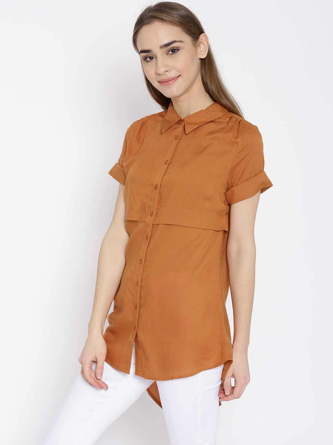 97c432e69e Buy Vero Moda Women Rust Orange Solid Layered Longline Casual Shirt ...