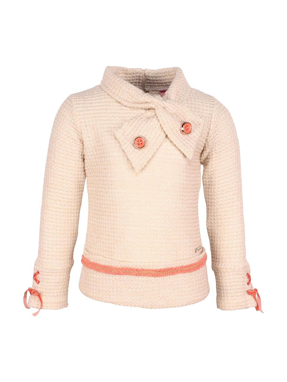 d1692cd27 Buy CUTECUMBER Girls Beige Self Design Sweater - Sweaters for Girls ...