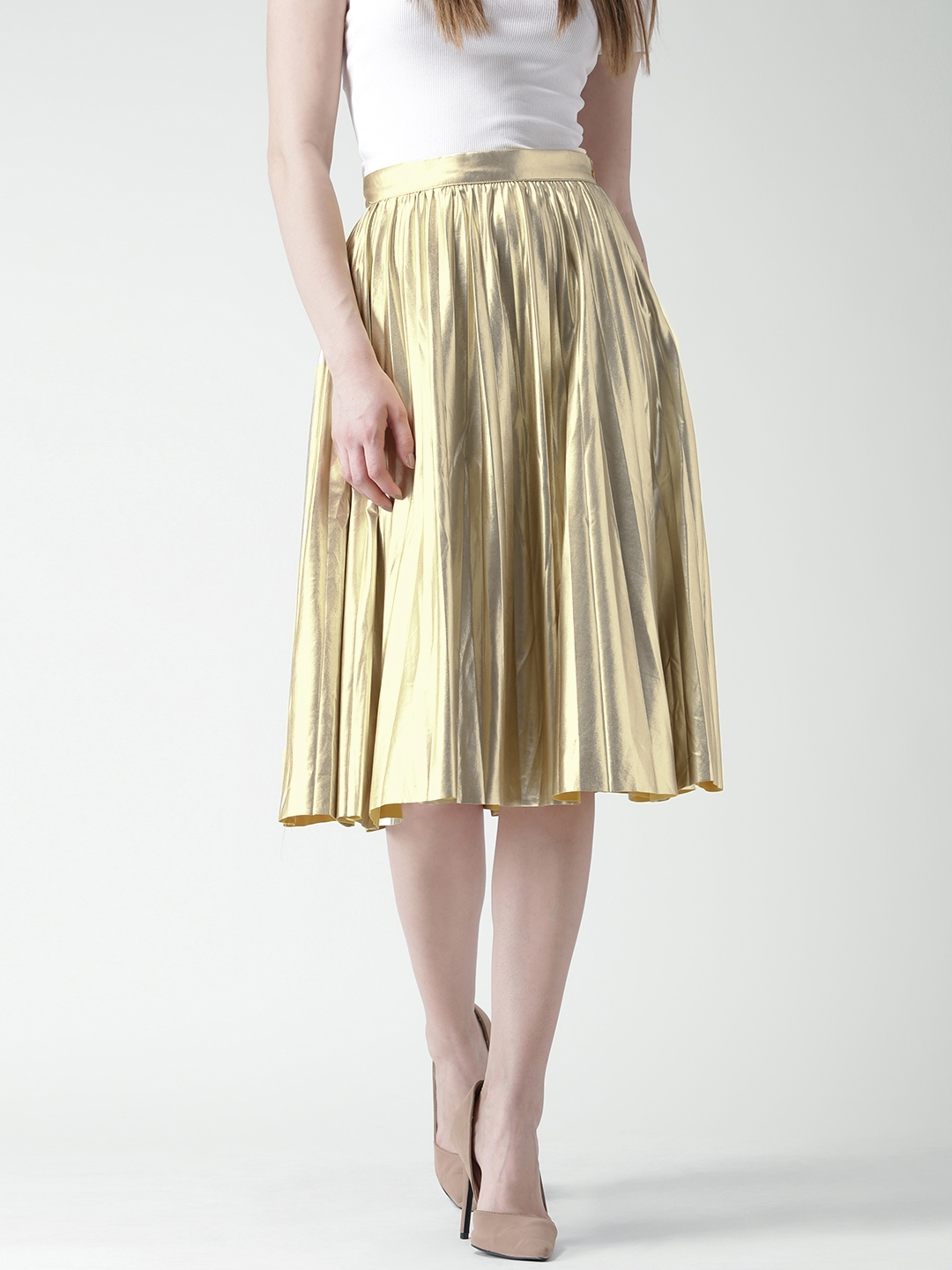 2691dc57a9 Buy FOREVER 21 Golden Midi Flared Skirt - Skirts for Women 1637637 ...