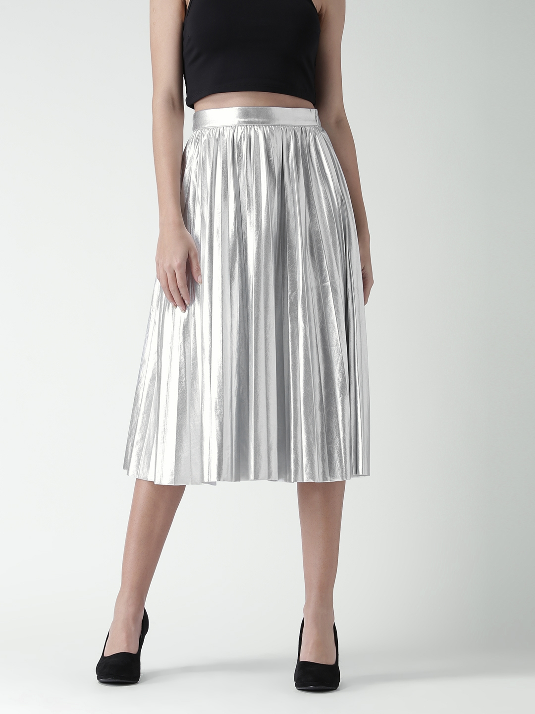 fea2112d6f Buy FOREVER 21 Silver Midi Flared Skirt - Skirts for Women 1637638 ...