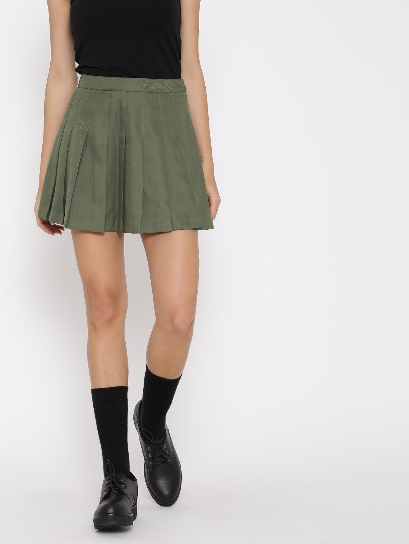 9a713da37105 Buy FOREVER 21 Olive Green Pleated Flared Skirt - Skirts for Women ...
