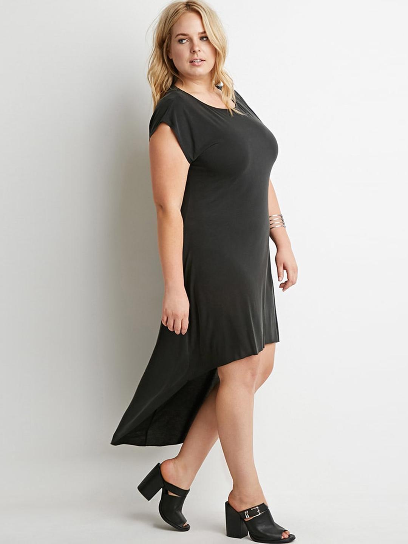 50d71ef6535 Buy FOREVER 21 Women Charcoal Grey High Low T Shirt Dress - Dresses ...