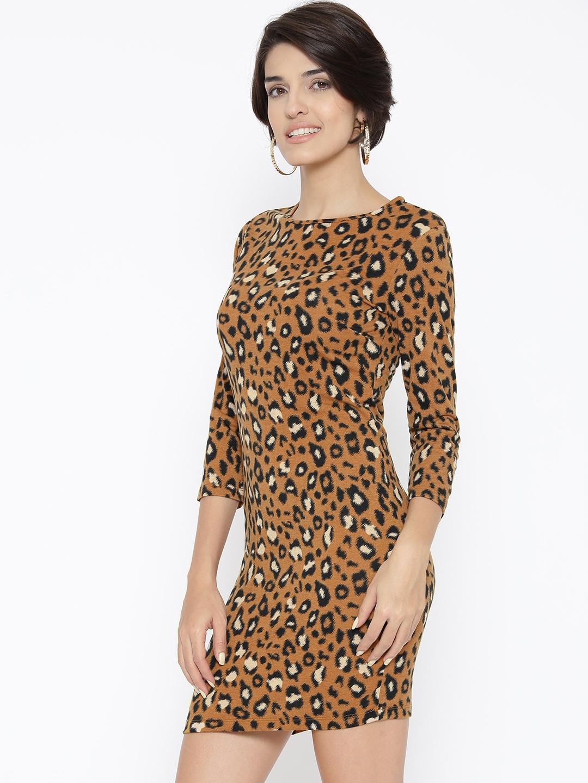 Buy FOREVER 21 Women Mustard Brown   Black Animal Print Sheath Dress ... 149d1910e