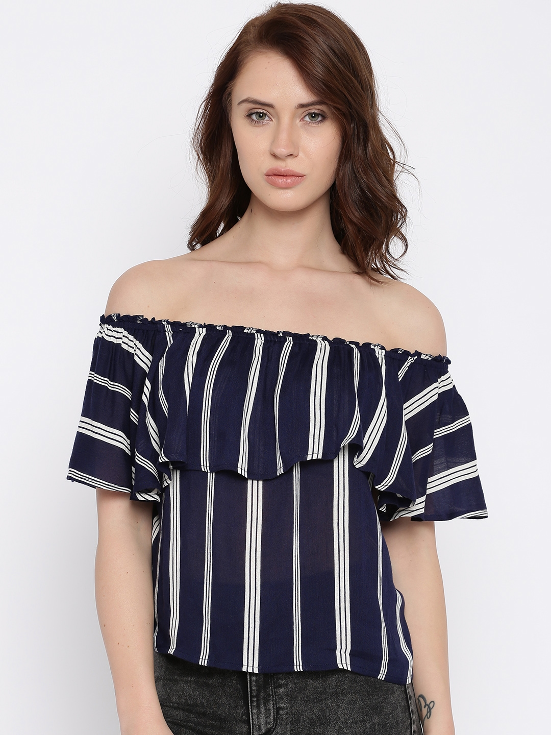 4565ba6e9e538 Buy ONLY Women Navy   White Striped Off Shoulder Top - Tops for ...