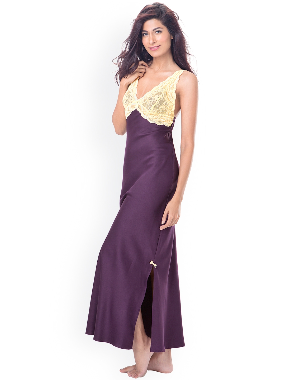 b867abc5db PrettySecrets Purple Satin Maxi Nightdress with Lace Detail PS0916LCSTSCL02