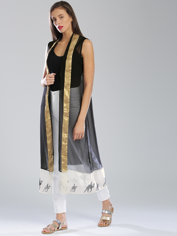 f8762d3b4ff3e Buy W Black Sleeveless Front Open Longline Sheer Ethnic Jacket ...