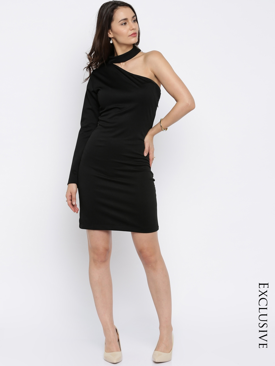 Miss Chase Women Black Solid Sheath Dress