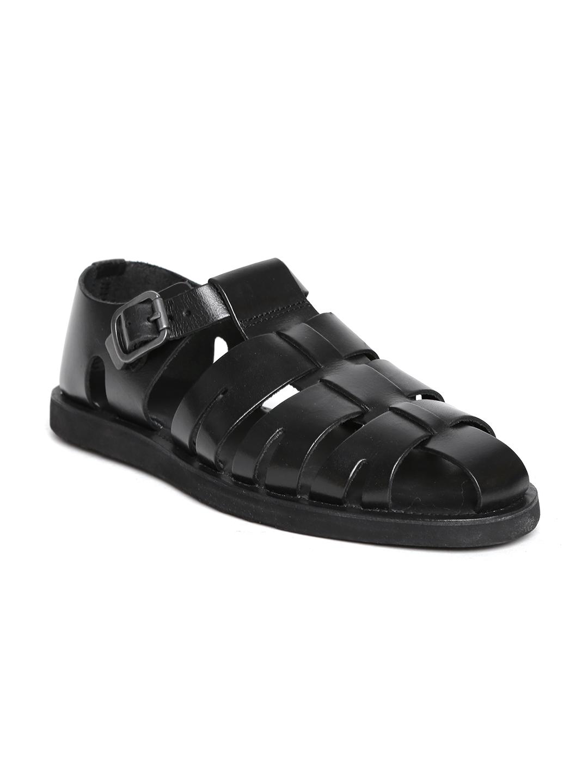 d325295f1 Buy Red Tape Men Black Leather Sandals - Sandals for Men 1640657 ...