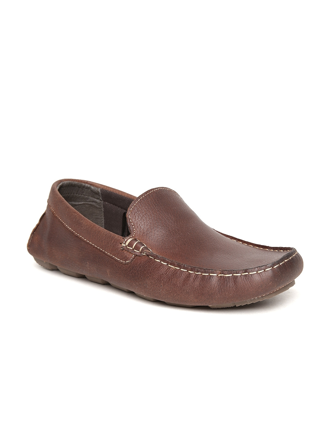 0d0a71f039 Buy Red Tape Men Brown Solid Leather Loafers - Casual Shoes for Men ...