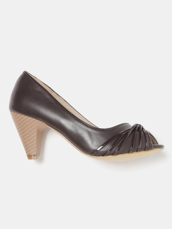 0c91069952 Buy DressBerry Women Coffee Brown Solid Peep Toes - Heels for Women ...