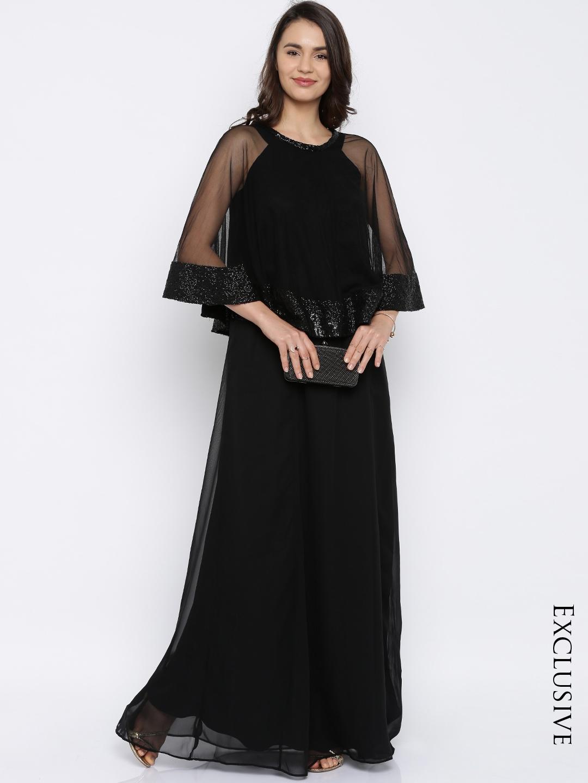 Black dress woman - Rare Women Black Solid Maxi Dress