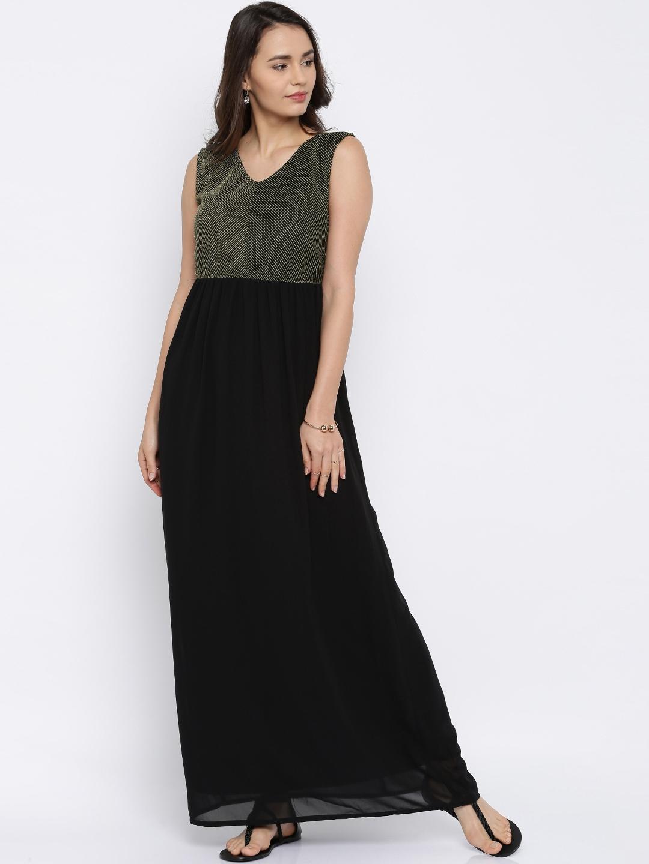 af32b7cabcd89 Black And Gold Long Maxi Dress - raveitsafe