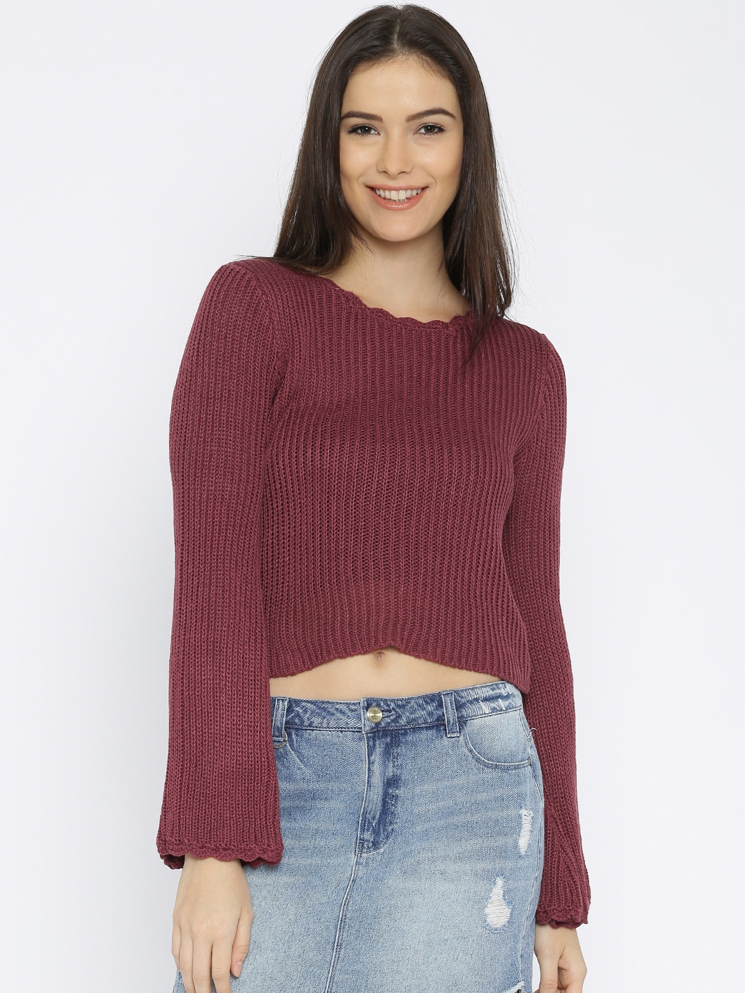 94b44e92babe33 Buy FOREVER 21 Women Burgundy Crop Sweater - Sweaters for Women ...