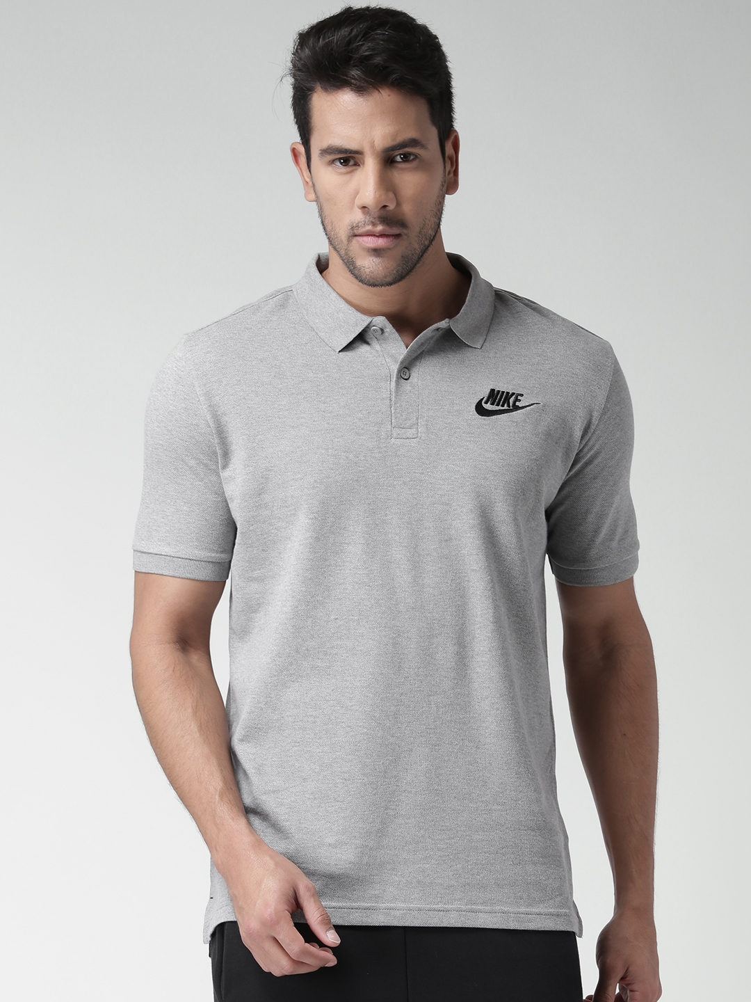 a68d02327cc49 Buy Nike Men Grey Melange AS NSW PQ Matchup Solid Polo Collar T ...
