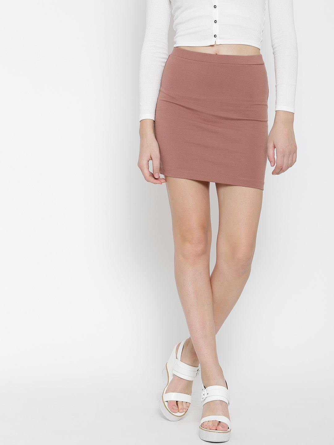 342ff38ea0 Buy FOREVER 21 Dusty Pink Pencil Mini Skirt - Skirts for Women ...