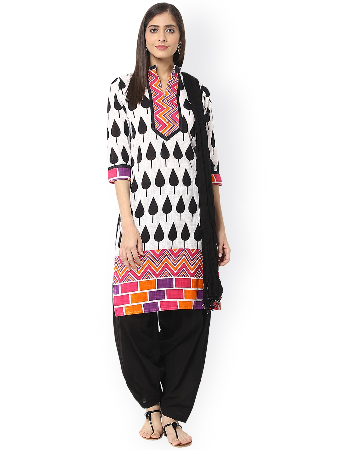 Jaipur Kurti White   Black Printed Salwar Suit with Dupatta