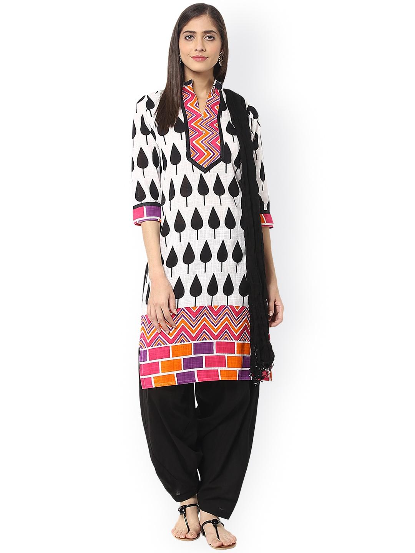 12c603a3ae Buy Jaipur Kurti White & Black Printed Salwar Suit With Dupatta ...
