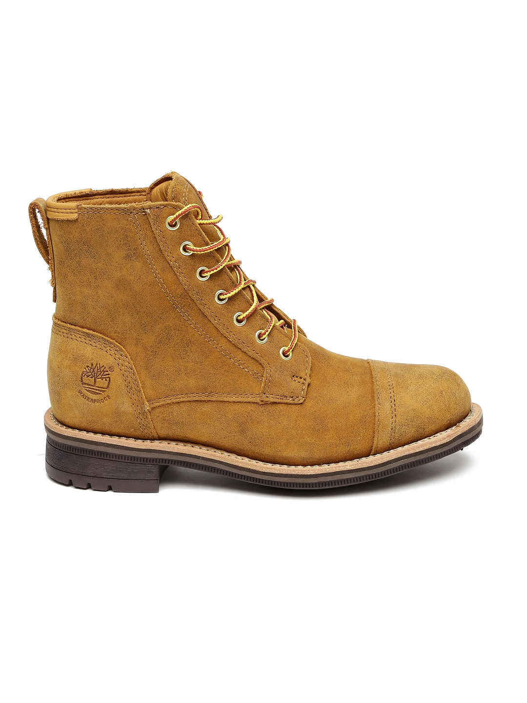 Timberland Men Tan Brown Leather Mid Top Flat Boots