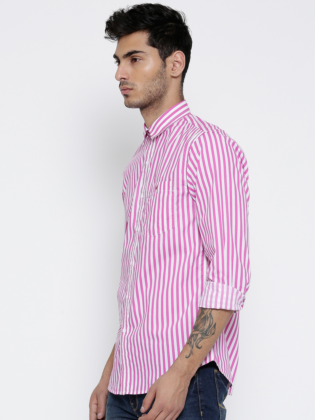 85fab04bb2 Buy Wills Lifestyle Men Pink & White Slim Striped Casual Shirt - Shirts for  Men 1650617 | Myntra