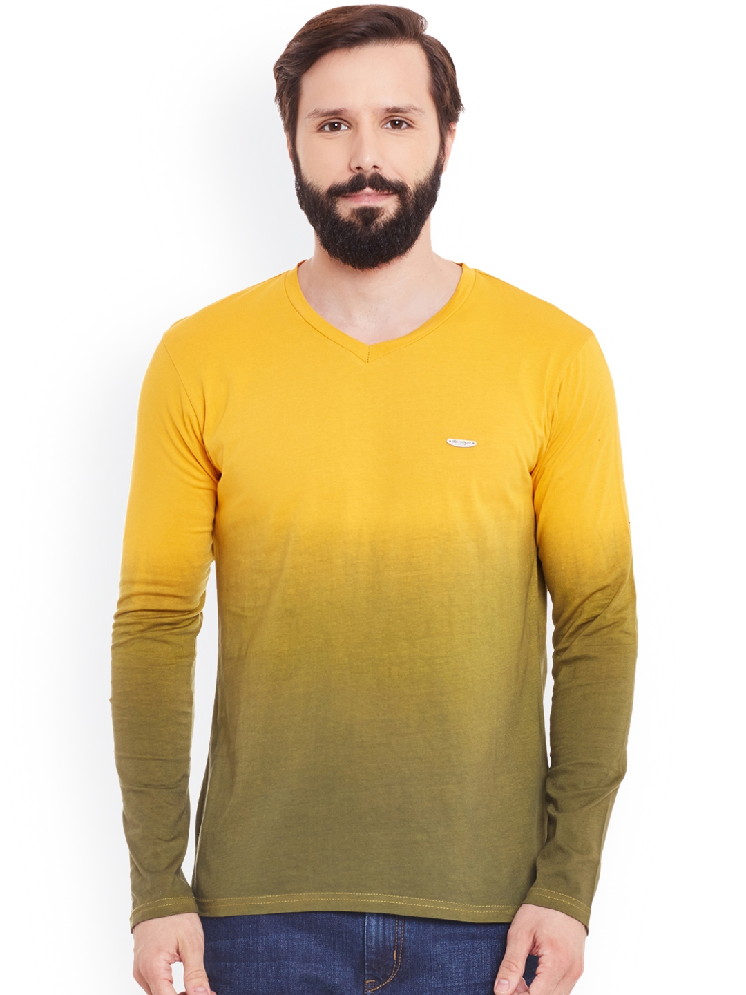 GRITSTONES Men Yellow   Olive Green Ombre Dyed V Neck T shirt
