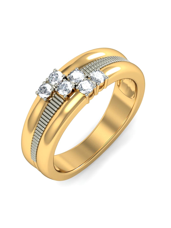 BlueStone 3.271 g 18KT Gold Saturn's Band Ring with Diamonds BlueStone Ring Diamond