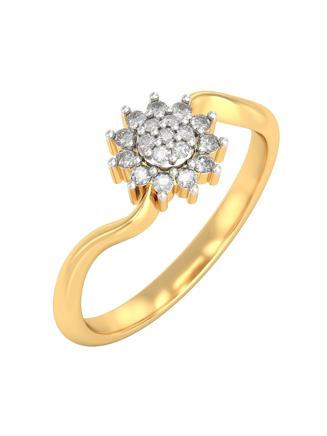 BlueStone 1.634 g 18KT Gold Radha Ring with Diamonds