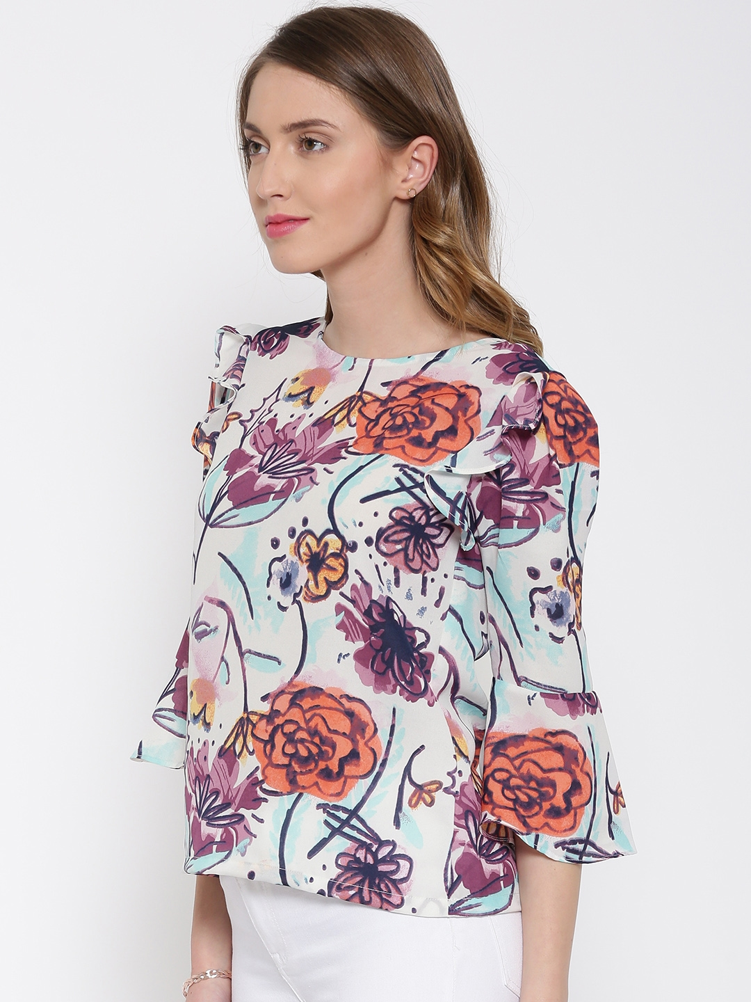 8eee431f52e6 Buy RARE Women Off White Polyester Georgette Floral Print Top - Tops ...