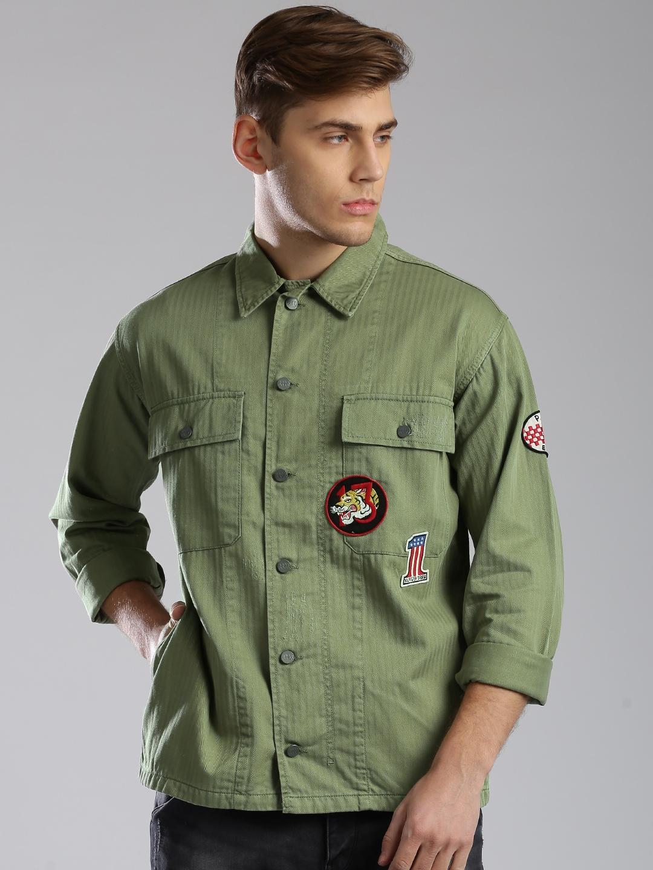 Rs. 5849 - Buy Tommy Hilfiger Olive Green Denim Jacket - Jackets For Men Myntra