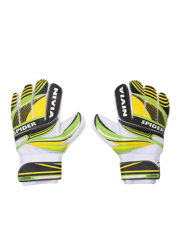 NIVIA Unisex Green   White Printed Spider Goal Keeper Football Gloves