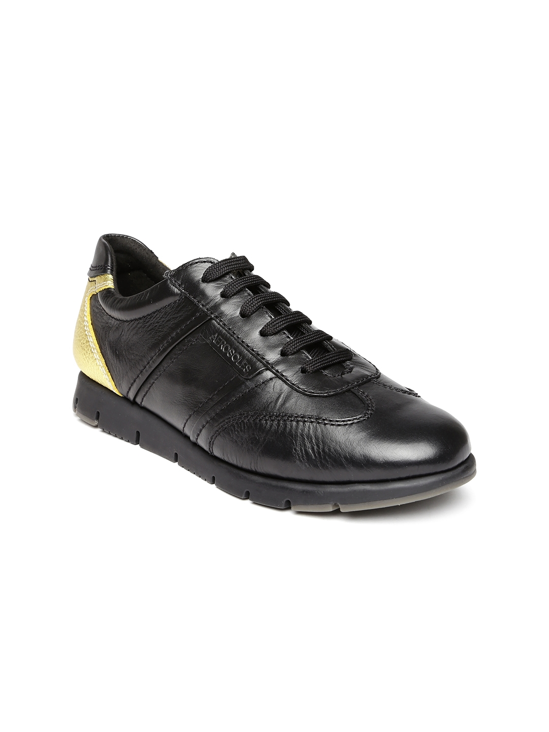 8f4f69b9ffea83 Buy Aerosoles Women Black Solid Leather Sneakers - Casual Shoes for ...
