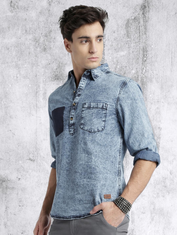 fd5e898f001 Buy Roadster Men Blue Acid Washed Denim Shirt - Shirts for Men ...