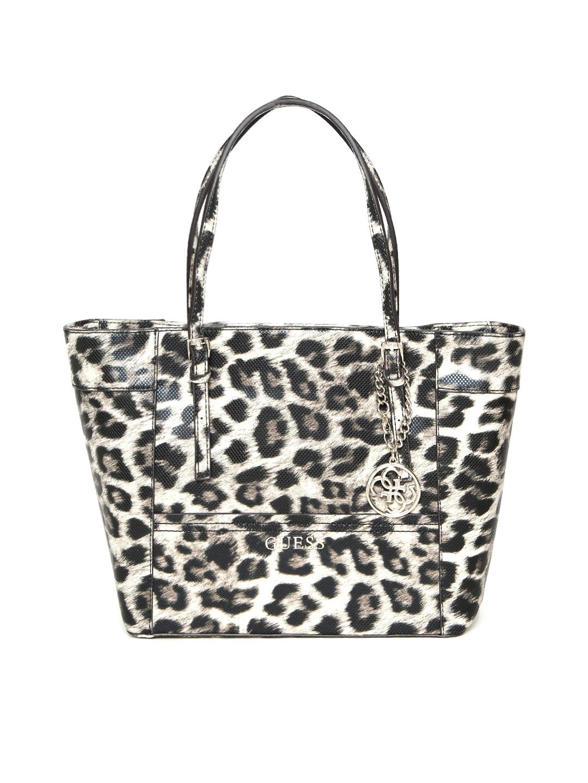 7ec80dd211c2 Buy GUESS Black & Beige Leopard Print Shoulder Bag - Handbags for Women  1668082 | Myntra